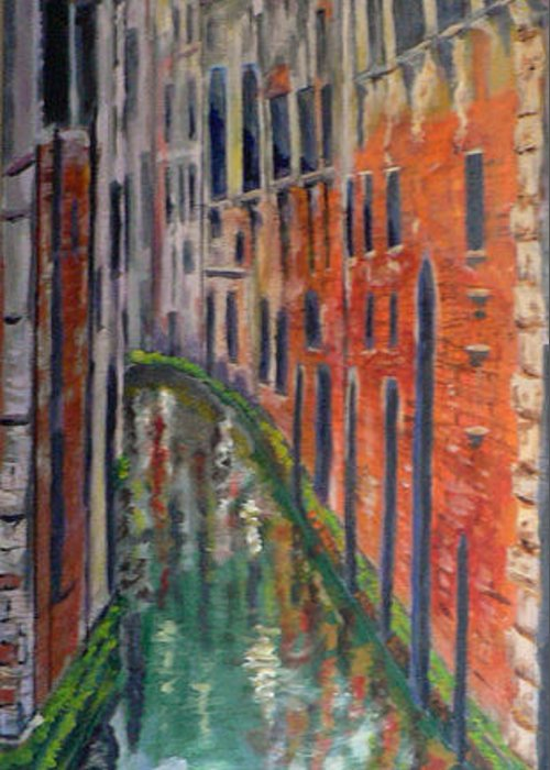 Venice Canal Greeting Card featuring the painting Back Alley by Dan Bozich