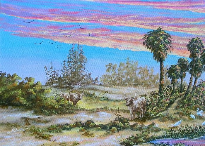 Landscape Greeting Card featuring the painting Back Forty One by Dennis Vebert