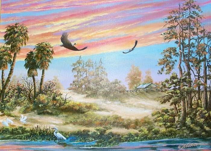 Landscape Greeting Card featuring the painting Back Forty Two by Dennis Vebert