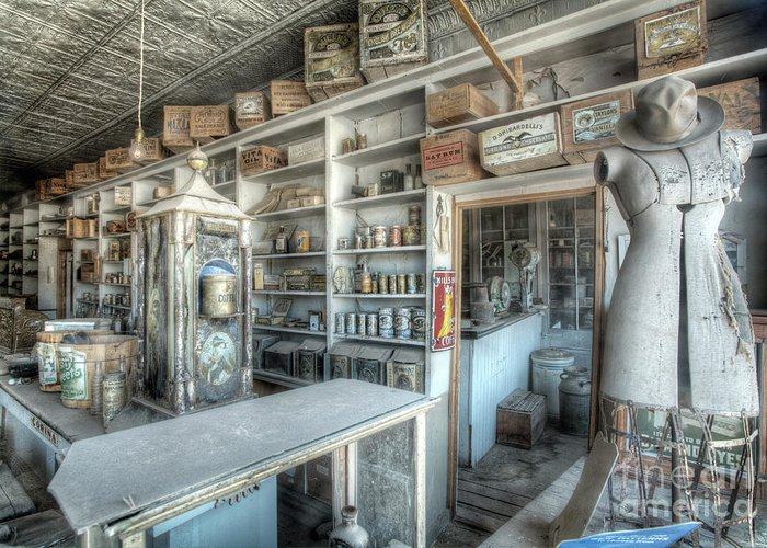 Bodie Greeting Card featuring the photograph Back In 5 - The General Store, Bodie Ghost Town by Martin Williams