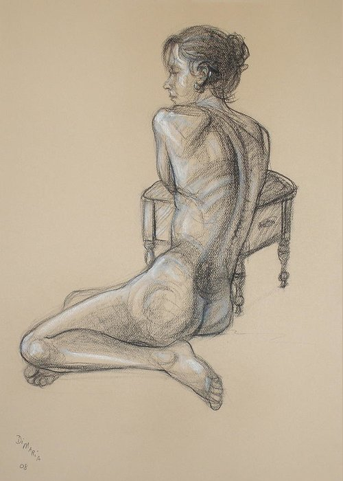 Realism Greeting Card featuring the drawing Back Nude 2 by Donelli DiMaria