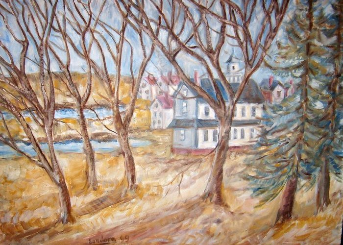 Landscape Churches Trees Houses Greeting Card featuring the painting Back Of Church by Joseph Sandora Jr