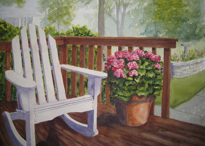 Landscape Greeting Card featuring the painting Back Porch by Shirley Braithwaite Hunt