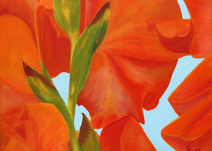 Gladiola Greeting Card featuring the painting Back Side Of Glad by Virginia Keith