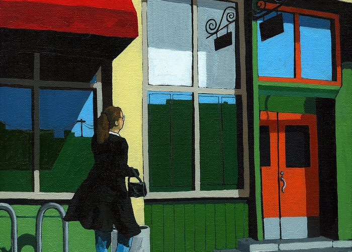 Waman Greeting Card featuring the painting Back Street Grill - Urban Art by Linda Apple