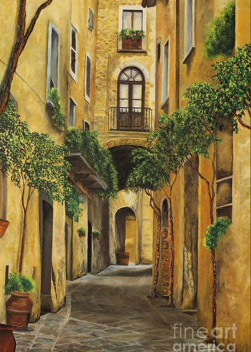 Italy Paintings Greeting Card featuring the painting Back Street In Italy by Charlotte Blanchard