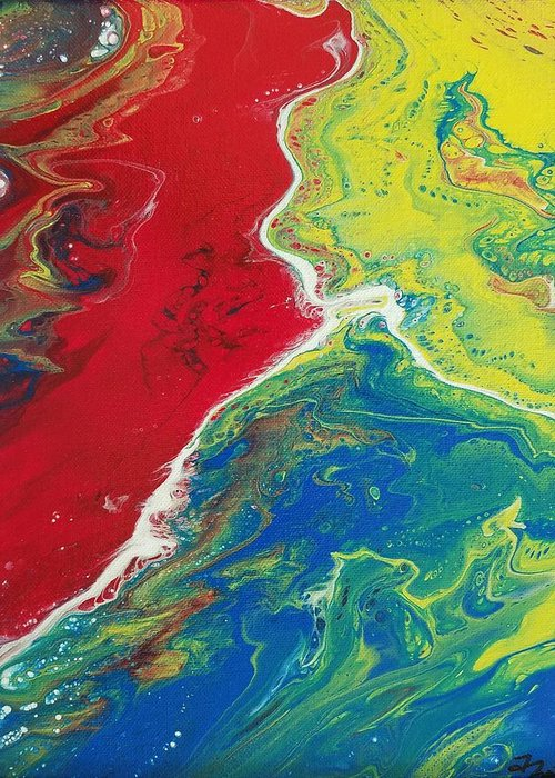 Acrylic Pour Canvas Sylacauga Abstract Bright Blue Red Green Yellow Purple Orange Black White Geo Gallery Terry Bollman Acrylix Acrylixbyterry Greeting Card featuring the painting Back To Basics Ill by Terry Bollman