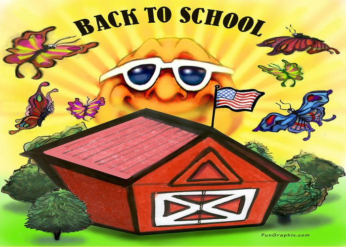 School Greeting Card featuring the greeting card Back To School by Kevin Middleton