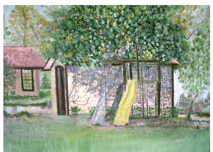 Home Greeting Card featuring the painting Back Yard Play  by Hal Newhouser