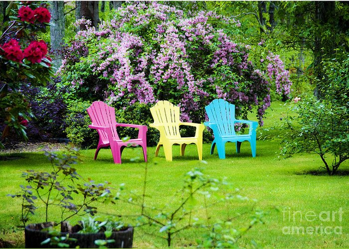 Lawn Chairs Greeting Card featuring the photograph Back Yard Tranquility by Jim Calarese