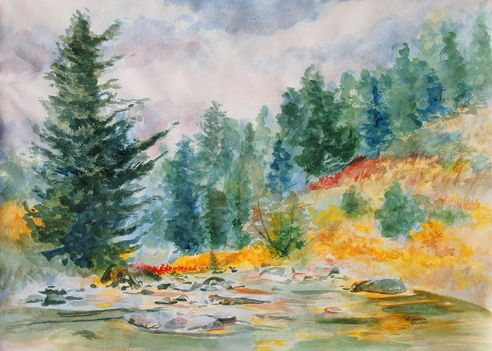 Landscape Greeting Card featuring the painting Afternoon in the Backcountry by Andrew Gillette