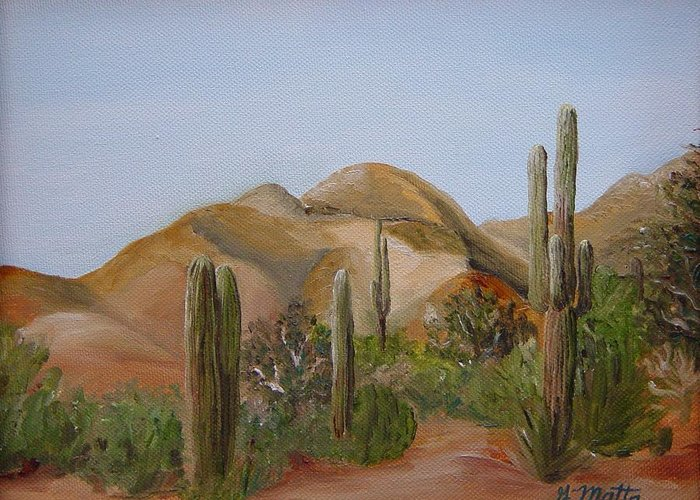 Landscape Greeting Card featuring the painting Backdoor View by Gretchen Matta