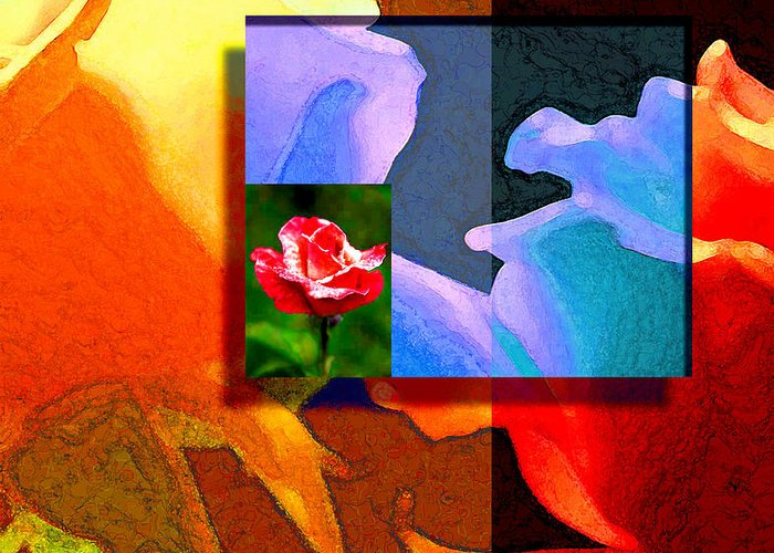 Modern Greeting Card featuring the digital art Backlit Roses by Stephen Lucas