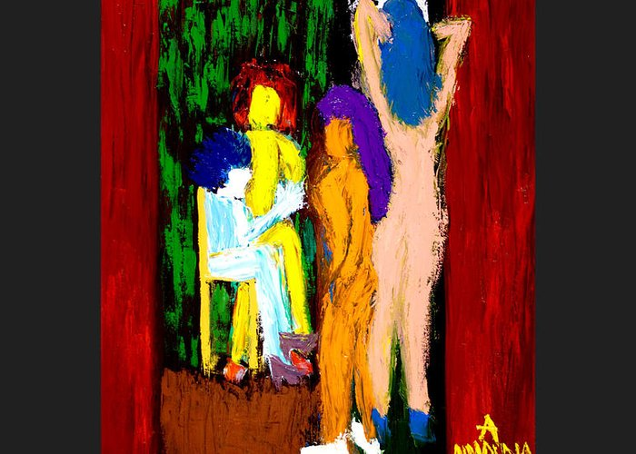 Femininity Greeting Card featuring the painting Backstage Drama by Albert Almondia