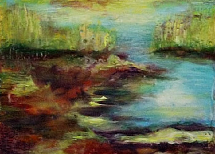Water Greeting Card featuring the painting Backwater. by Evgenia Davidov
