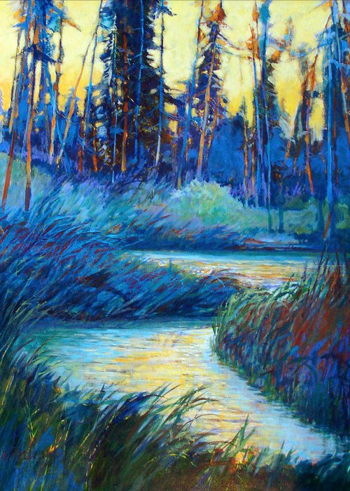 Landscape Greeting Card featuring the painting Backwater Light by Dale Witherow
