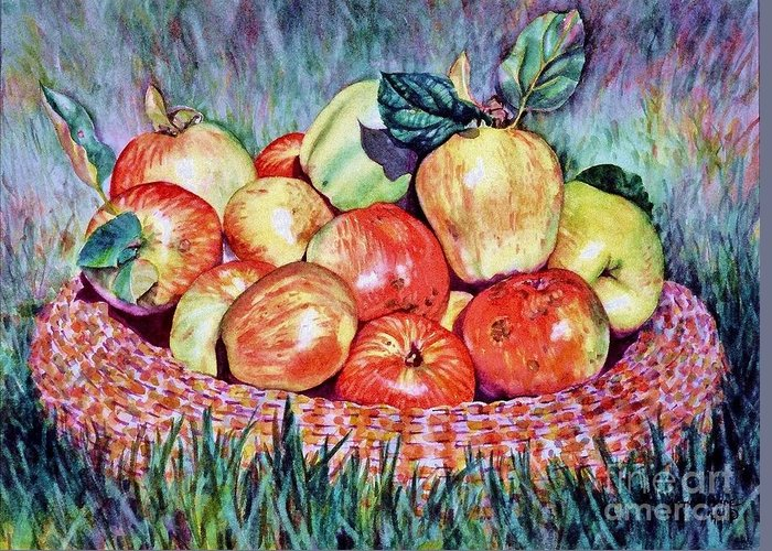 Cynthia Pride Watercolor Paintings Greeting Card featuring the painting Backyard Apples by Cynthia Pride