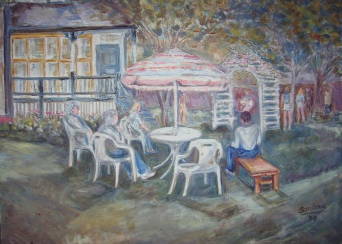 Landscape With People Greeting Card featuring the painting Backyard Cookout by Joseph Sandora Jr