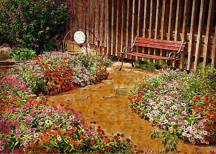 Pink Flower Greeting Card featuring the digital art Backyard Garden by Paul Bartoszek