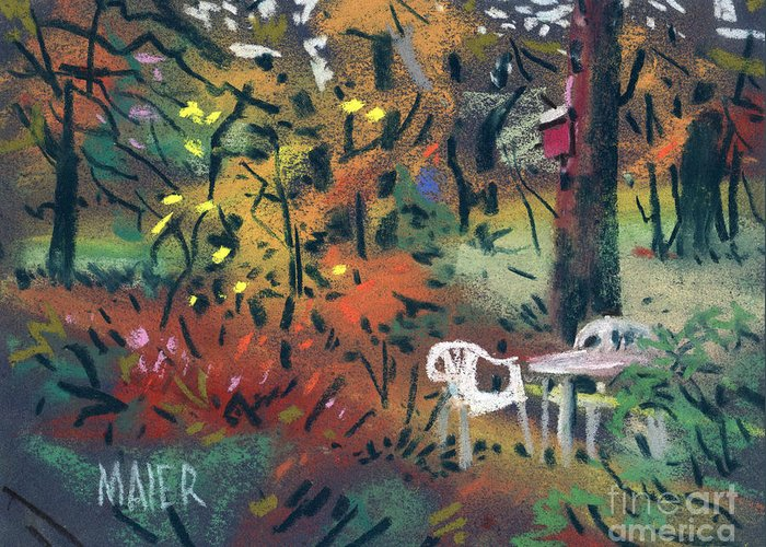 Pastel Greeting Card featuring the painting Backyard In Autumn by Donald Maier