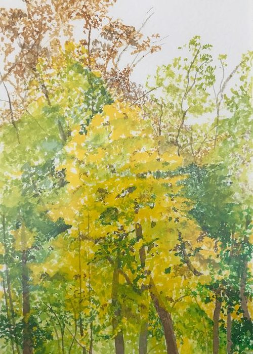 Autumn Greeting Card featuring the painting Backyard by Leah Tomaino