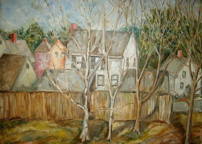 Landscape Greeting Card featuring the painting Backyard O by Joseph Sandora Jr