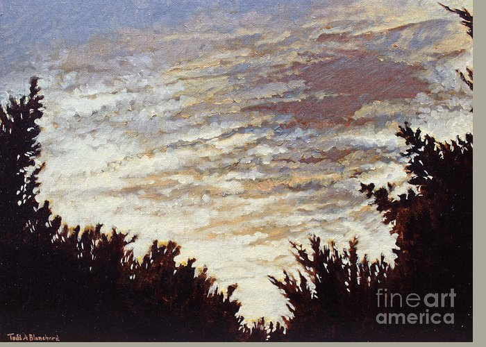 Landscape Greeting Card featuring the painting Backyard Sunset by Todd Blanchard