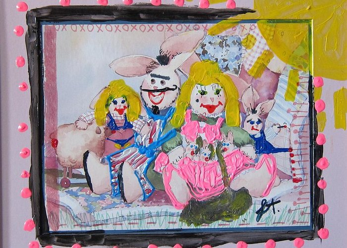 Adult Greeting Card featuring the painting Bad Bunnies by Lisa Piper