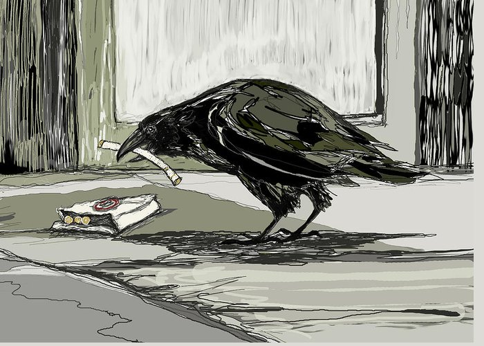 Crow Greeting Card featuring the digital art Bad Habit by Peggy Wilson