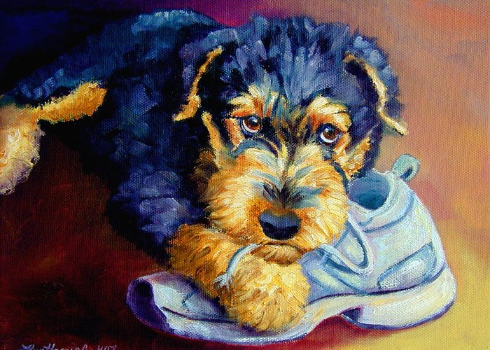 Airedale Terrier Greeting Card featuring the painting Bad Puppy Airedale Terrier by Lyn Cook