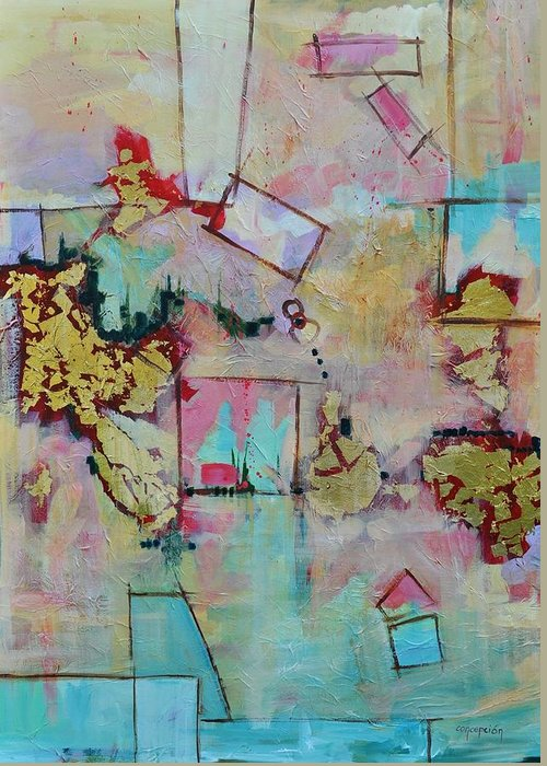 Geometric Abstract Greeting Card featuring the painting BadaBoom by Ginger Concepcion