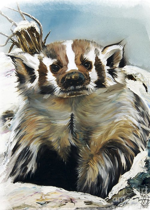 Southwest Art Greeting Card featuring the painting Badger - Guardian Of The South by J W Baker