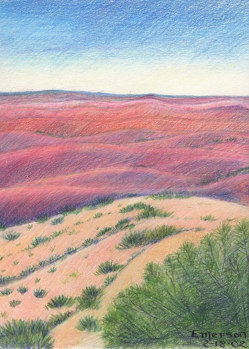 Landscape Greeting Card featuring the drawing Badlands by Harriet Emerson