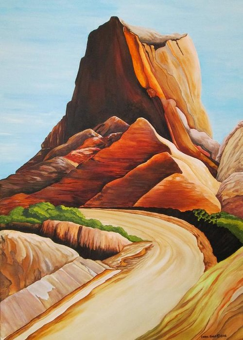 Badlands National Park Greeting Card featuring the painting Badlands National Park by Carol Sabo