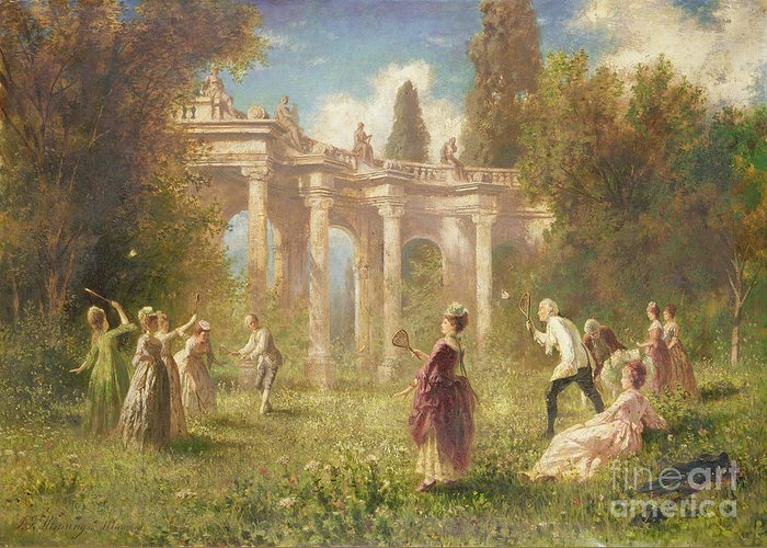 Badminton Greeting Card featuring the painting Badminton Players by Johan Friedrich Hennings