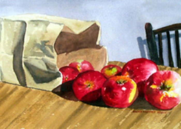 Still Life Greeting Card featuring the painting Bag With Apples by Anne Trotter Hodge