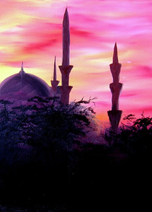Painting Greeting Card featuring the painting Baghdad Sunset by Michael McKenzie