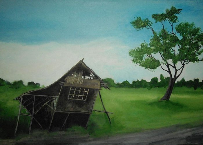 Nipa Hut Greeting Card featuring the painting Bahay Kubo by Robert Cunningham