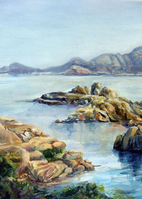 Landscape Greeting Card featuring the painting Baie by Muriel Dolemieux