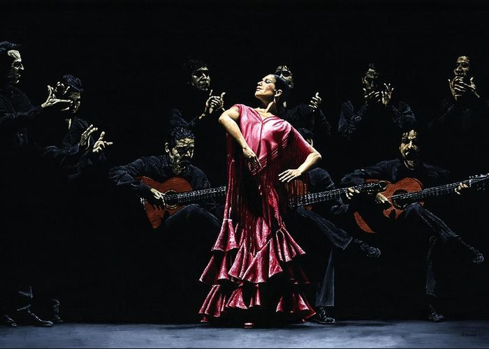 Flamenco Greeting Card featuring the painting Bailarina Orgullosa Del Flamenco by Richard Young