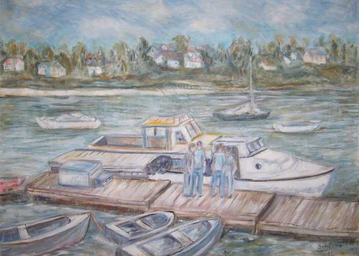 Landscape Boats Water Island People Seascape Greeting Card featuring the painting Bailey Island Boat Dock by Joseph Sandora Jr