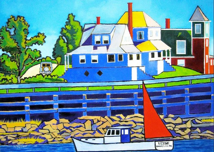 Maine Greeting Card featuring the painting Bailey's Island by Nicholas Martori