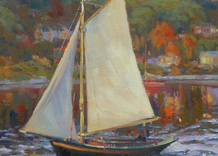 Sailboat Greeting Card featuring the painting Bainbridge Island Sail by Steve Henderson