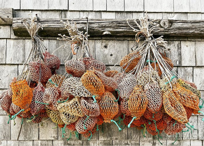 Maine Greeting Card featuring the photograph Bait Bags by John Greim