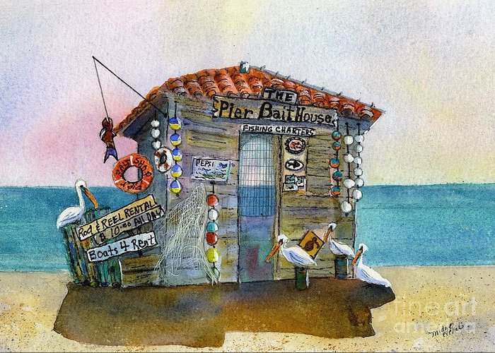 Bait-house Greeting Card featuring the painting Bait House by Midge Pippel