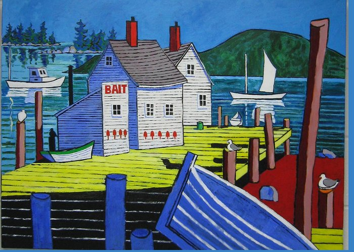 Seascape Greeting Card featuring the painting Bait House by Nicholas Martori