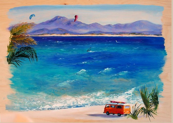 Landscape Greeting Card featuring the painting Baja Safari by Lynee Sapere