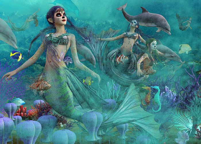 Mermaid Greeting Card featuring the digital art Bajo El Mar De Los Muertos by Betsy Knapp