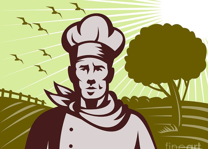 Organic Greeting Card featuring the digital art Baker Chef by Aloysius Patrimonio