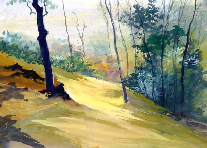 Landscape Greeting Card featuring the painting Balance by Anil Nene